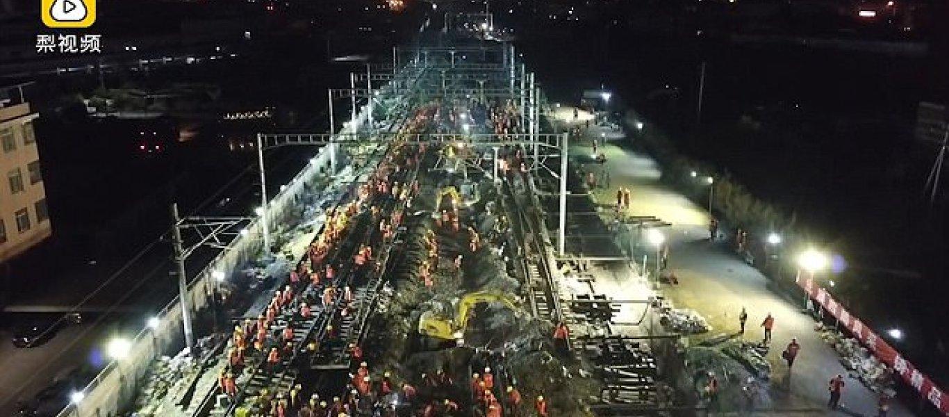 Κινέζοι εργαζόμενοι κατασκεύασαν σιδηρόδρομο μέσα σε 9 ώρες! (βίντεο)