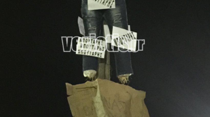 Φωτογραφίες – βίντεο: Έκαψαν τον «Καρνάβαλο Μπουτάρη» για τις θέσεις του στο Σκοπιανό
