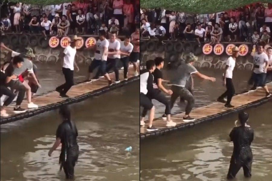 Είκοσι άτομα κουνούν τη γέφυρα, κι αυτός δεν πέφτει!