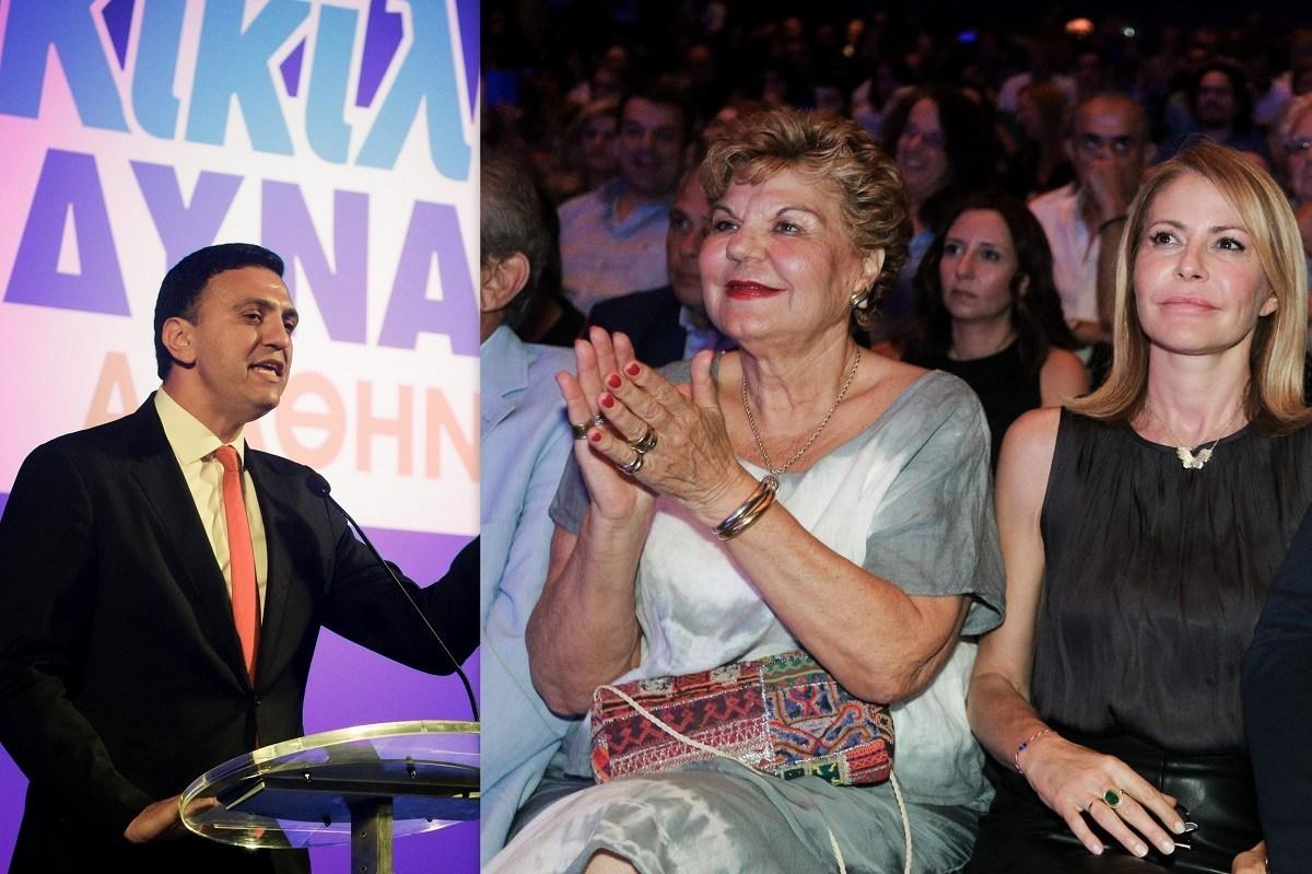 Η Τζένη Μπαλατσινού μαζί με την πεθερά της στην προεκλογική ομιλία του Βασίλη Κικίλια