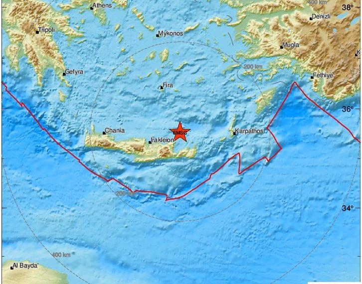 Σεισμός ταρακούνησε την Κρήτη – Αισθητός στο Ηράκλειο