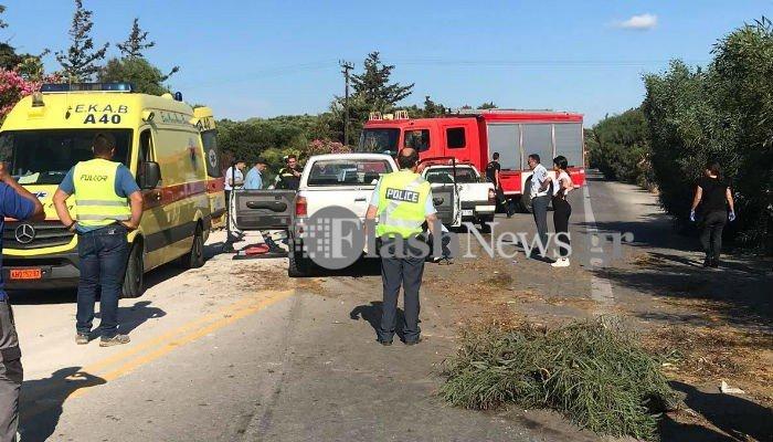 Σοβαρό τροχαίο ατύχημα στην εθνική οδό Χανίων – Κισάμου (φωτο)