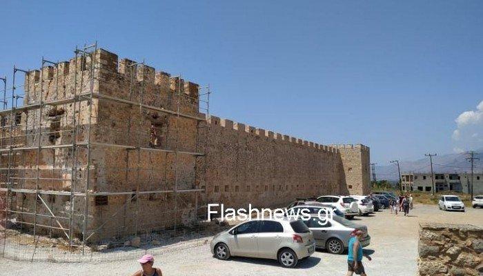Εργασίες αναστήλωσης στο εμβληματικό φρούριο Φραγκοκάστελλου – Πότε ολοκληρώνονται (φωτο)