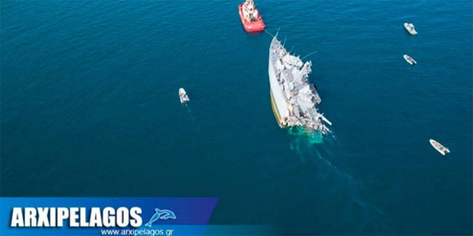 Σύγκρουση πολεμικού πλοίου στον Πειραιά: Εικόνες από drone με τις ζημιές στο «Καλλιστώ»