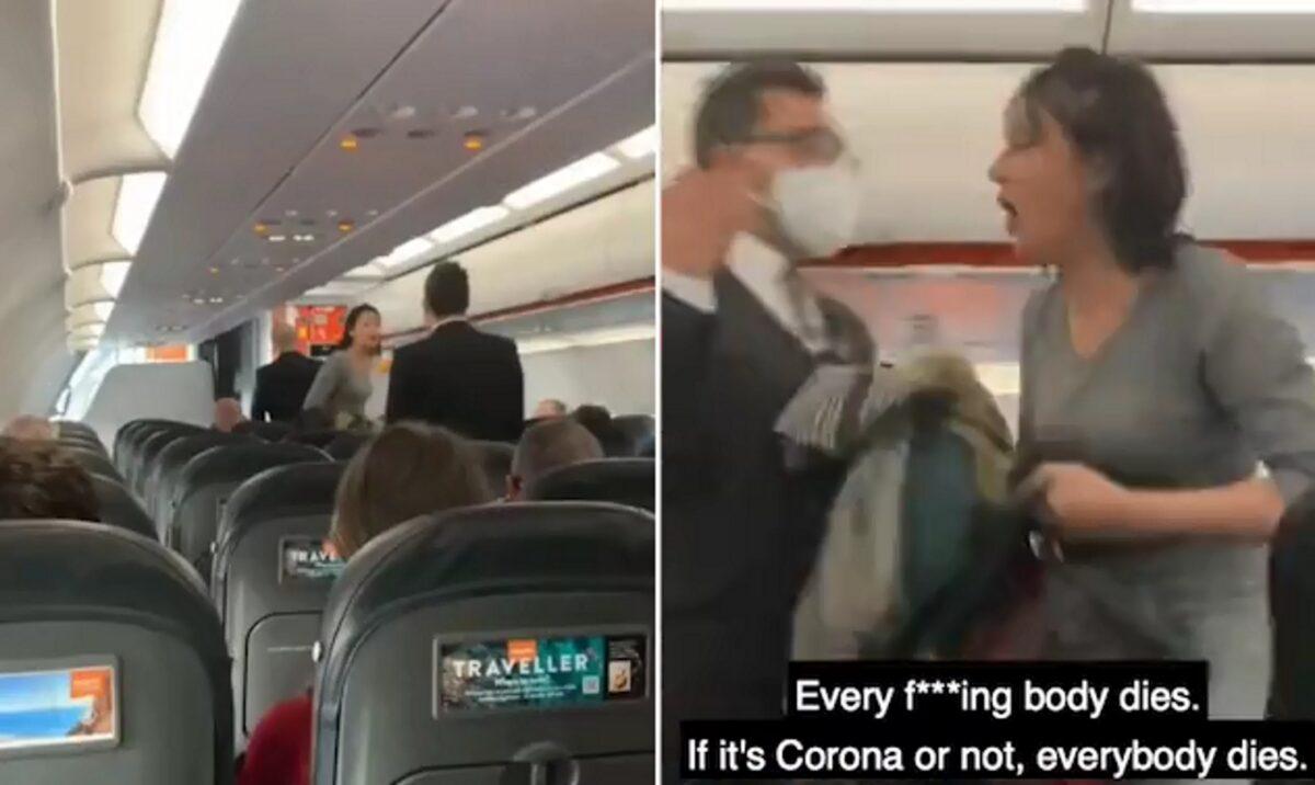 «Όλοι πεθαίνουν»! Ούρλιαζε και… έβηχε αρνήτρια της μάσκας ενώ την έδιωχναν από πτήση (video)