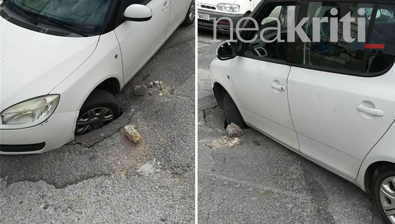 Αυτοκίνητο έπεσε σε λακκούβα – γίγας στην Αρχιεπισκόπου Μακαρίου