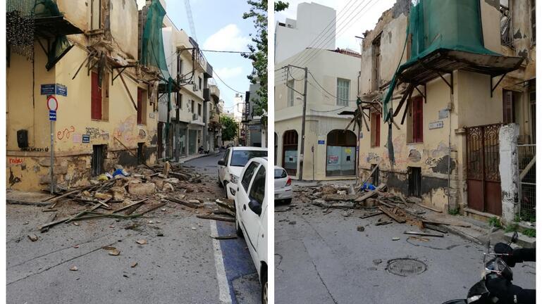 Κατέρρευσε τμήμα εγκαταλειμμένου κτιρίου στο κέντρο του Ηρακλείου