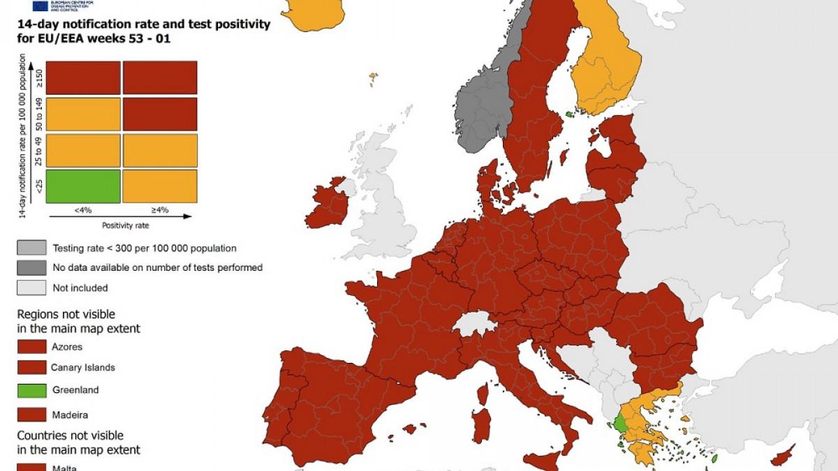 Ο χάρτης ECDC για τον κορωνοϊό στην Ευρώπη: Στην Ελλάδα η μόνη πράσινη περιοχή