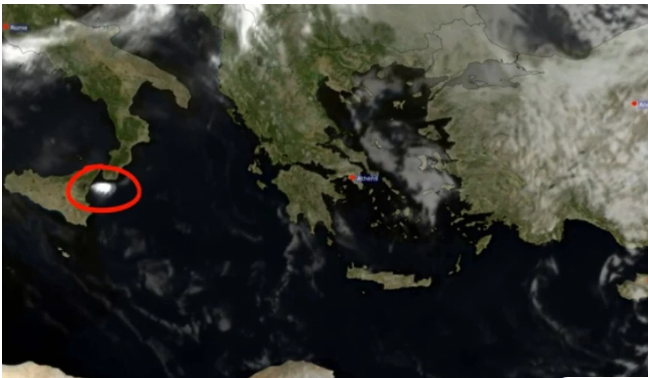 Εικόνες από δορυφόρο: Η τέφρα από το ηφαίστειο της Αίτνας ταξίδεψε στη Μεσόγειο με πορεία προς την Ελλάδα
