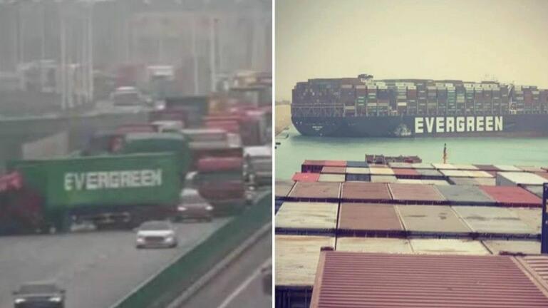 Συνέβη και… στο δρόμο – Φορτηγό με λογότυπο «Evergreen» μπλοκάρει την κυκλοφορία