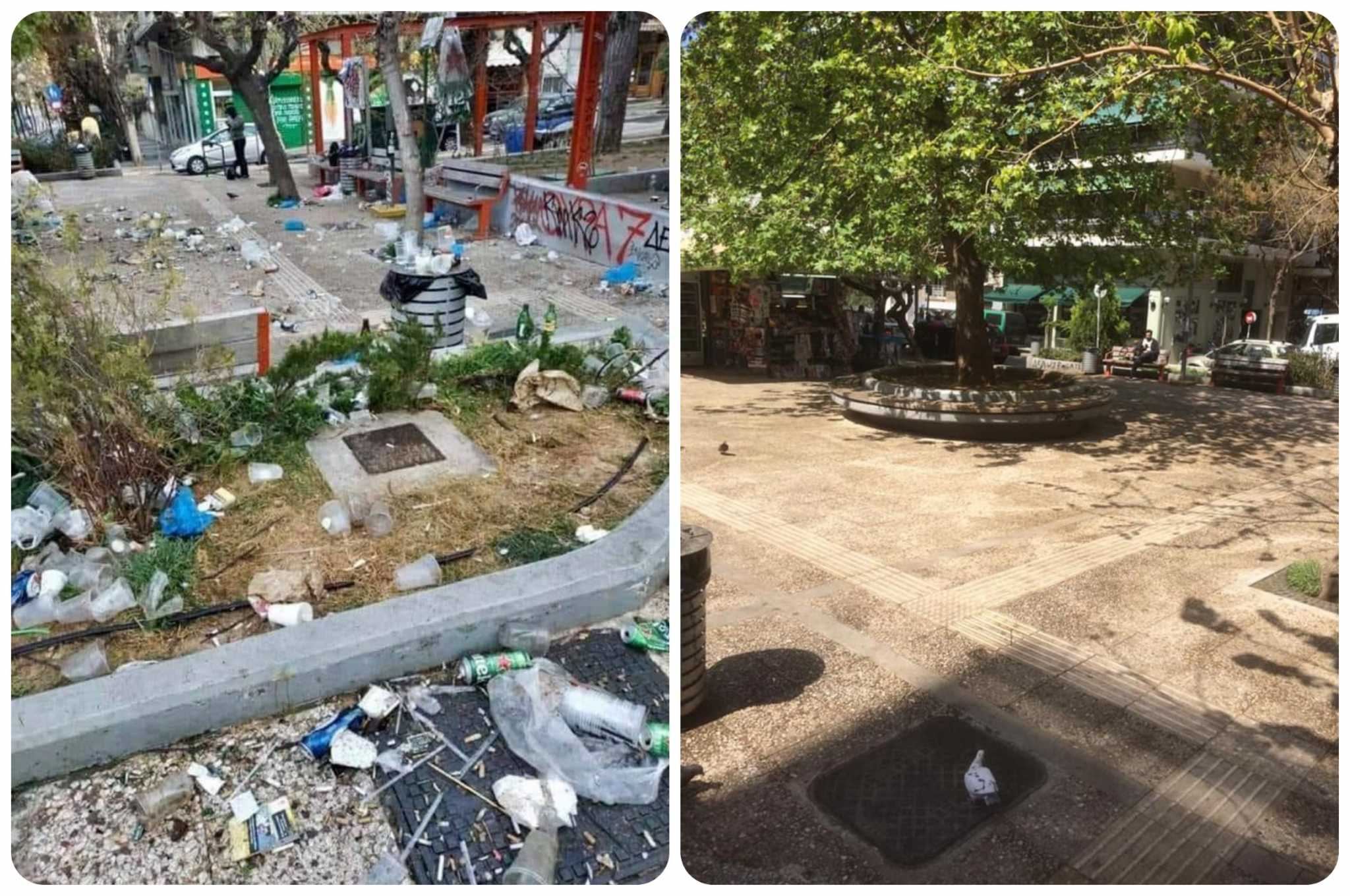 Κώστας Μπακογιάννης: Φωτογραφίες της «γυαλισμένης» πλατείας Βαρνάβα μετά τις εξοργιστικές εικόνες