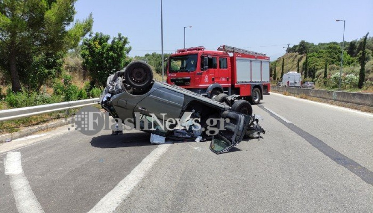 Χανιά: Το αυτοκίνητο εκτινάχθηκε και τούμπαρε