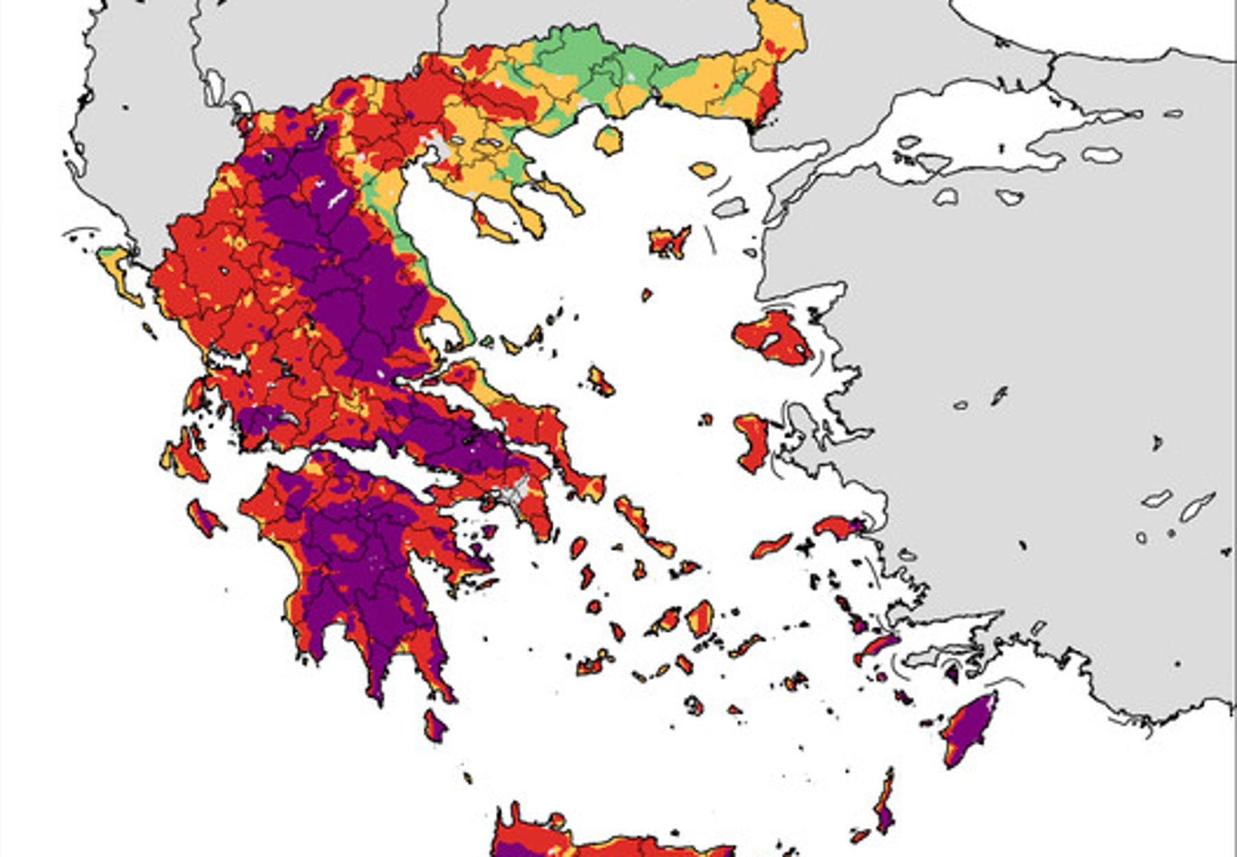 Μεγάλος κίνδυνος φωτιάς σε αυτές τις περιοχές λόγω καύσωνα (pics)