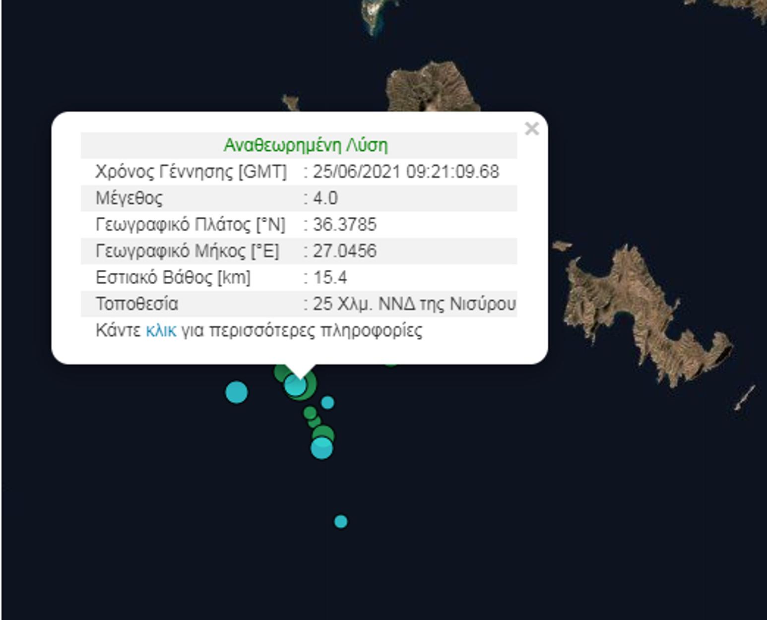 Σεισμός 4 Ρίχτερ στην Νίσυρο