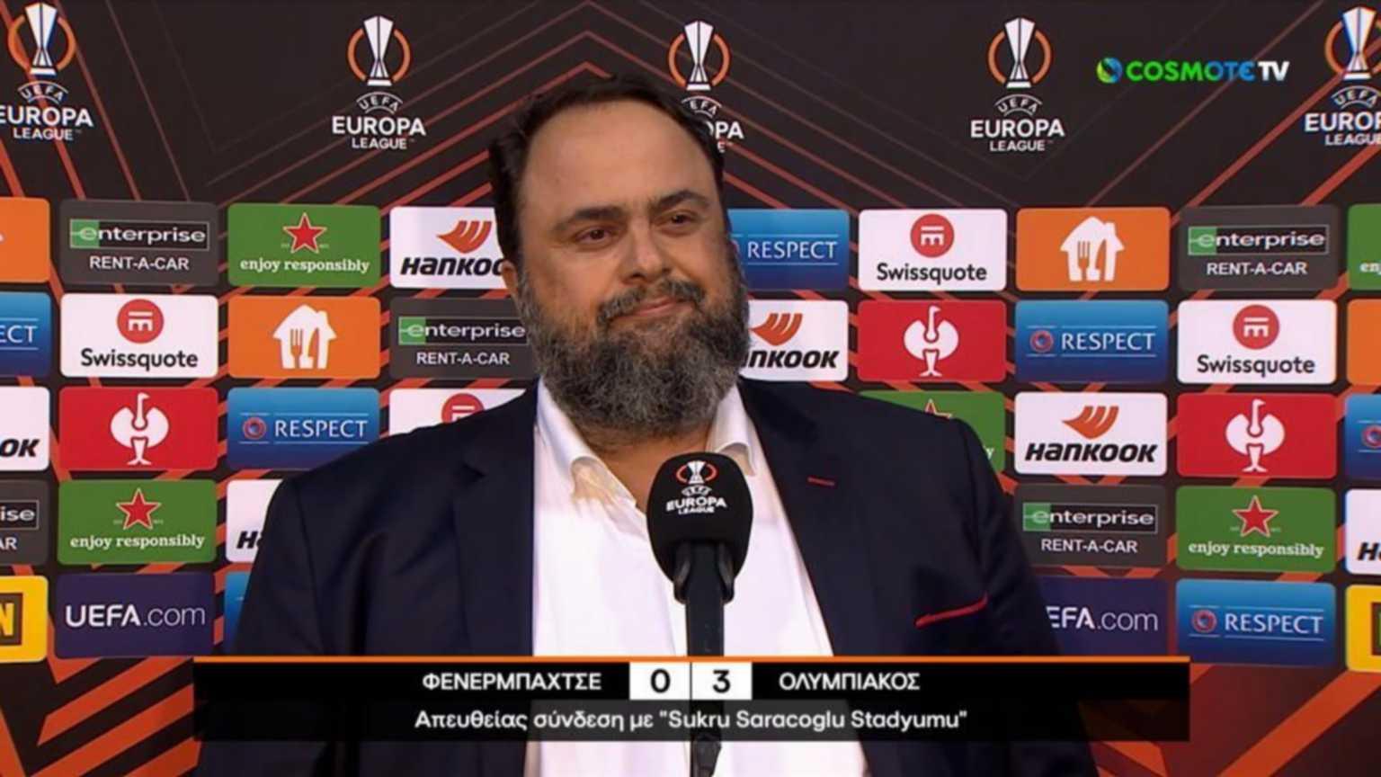 Europa League, Ολυμπιακός – Βαγγέλης Μαρινάκης: «Αφιερωμένη στους Έλληνες η νίκη στην Πόλη μας»