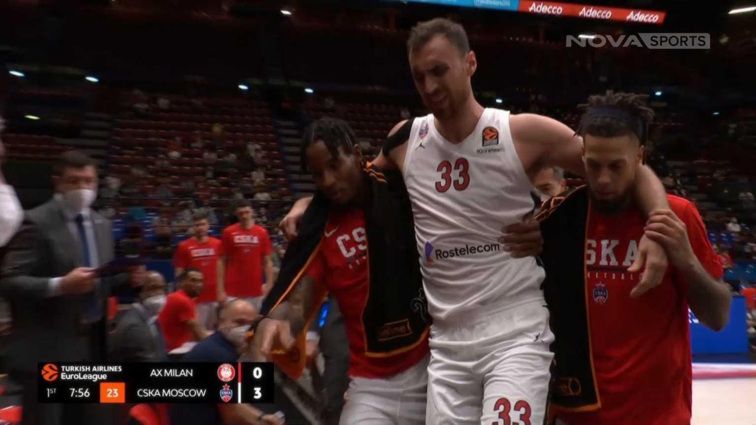 Euroleague, ΤΣΣΚΑ Μόσχας – Νίκολα Μιλουτίνοφ: Τραυματίστηκε σοβαρά και αποχώρησε υποβασταζόμενος