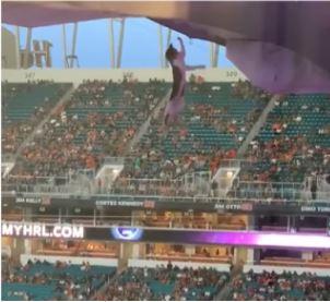 ΗΠΑ: Θεατές έσωσαν γάτα που έπεσε από το πάνω διάζωμα χρησιμοποιώντας σημαίες