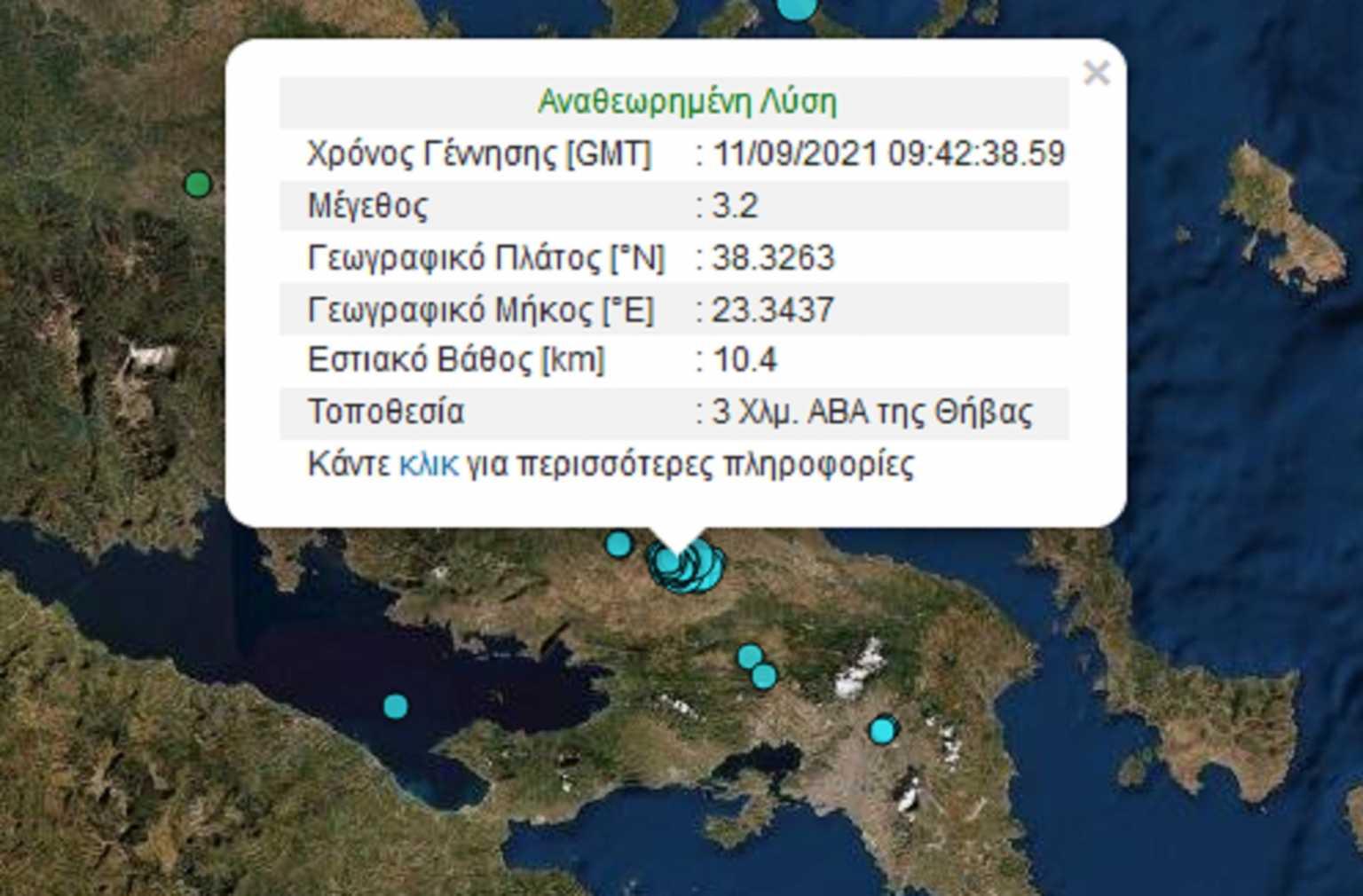 Νέος σεισμός 3,2 Ρίχτερ στη Θήβα