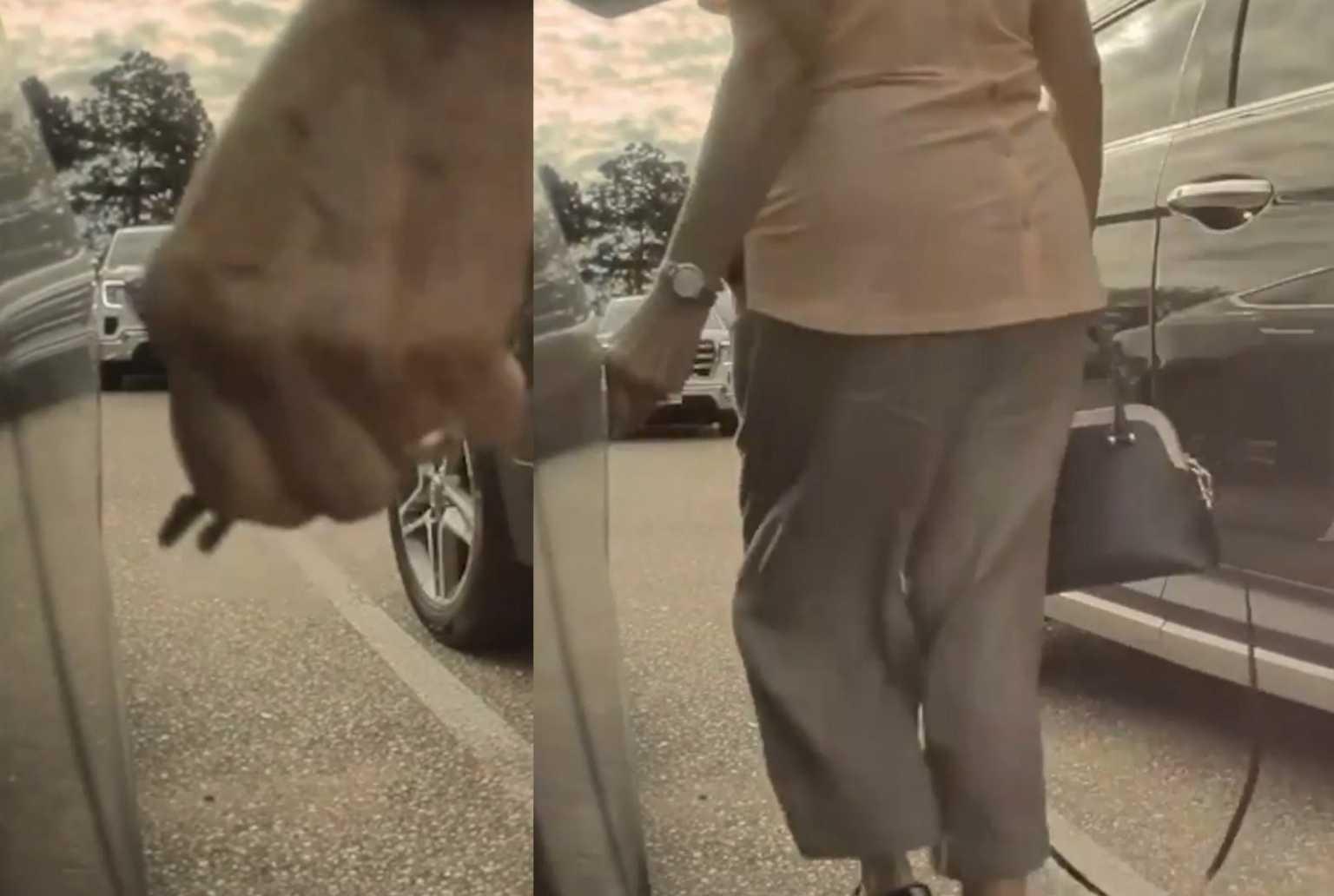 Της χάραξε με κλειδιά το αυτοκίνητο για μια θέση πάρκινγκ αλλά η κάμερα την «έκαψε»