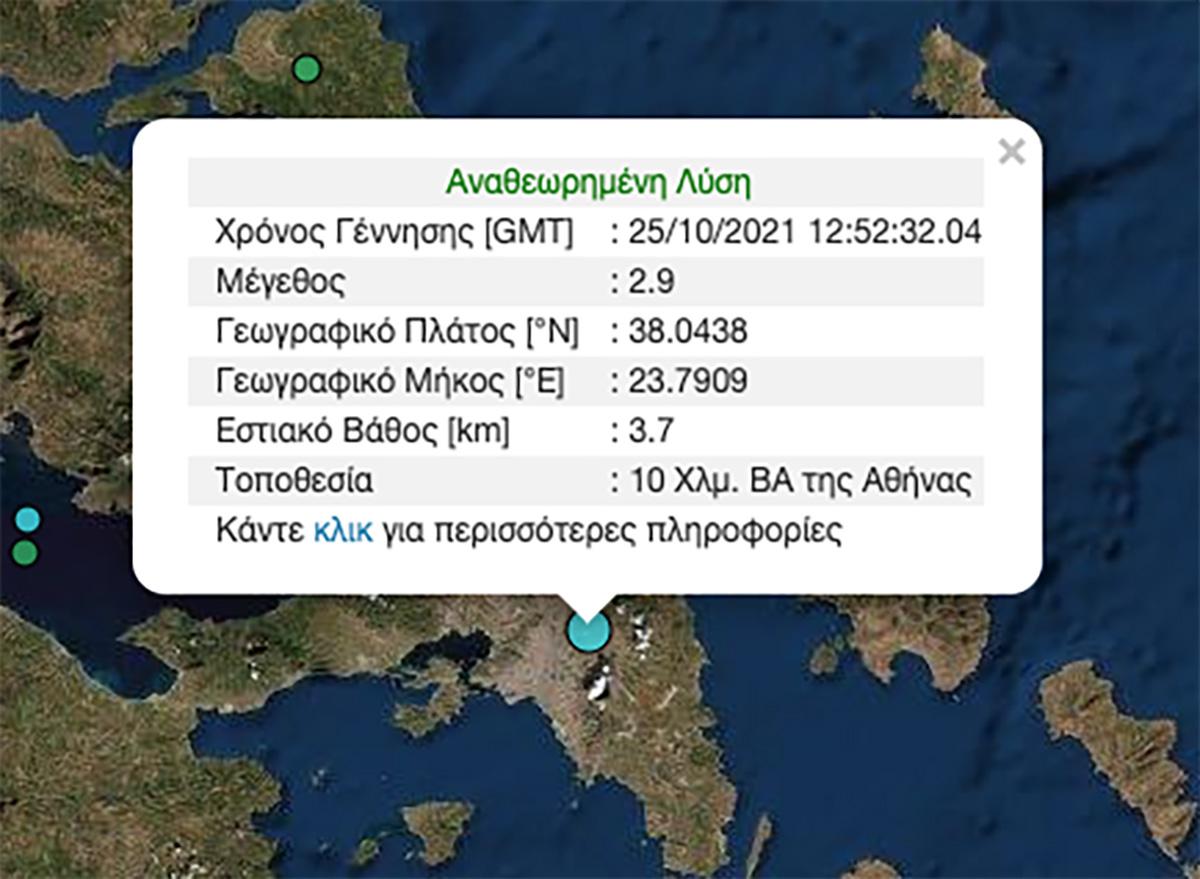 Σεισμός 2,9 Ρίχτερ στην Αθήνα – Μόλις 3,7 χλμ το εστιακό βάθος