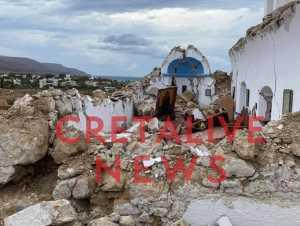 Σεισμός στην Κρήτη: Κατέρρευσε το εκκλησάκι του Αγίου Νικολάου στη Σητεία